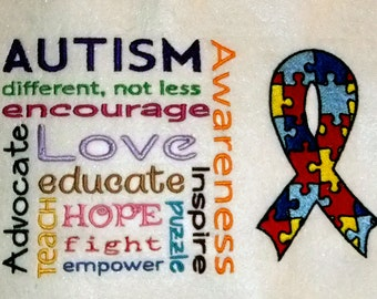 Autism Support Subway Art with Autism Ribbon (embroidered wall art)