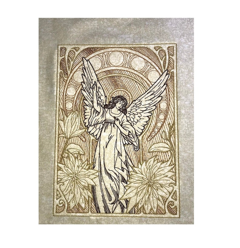 7 x 10 Embroidered Angel Tapestry embroidered wall art image 0