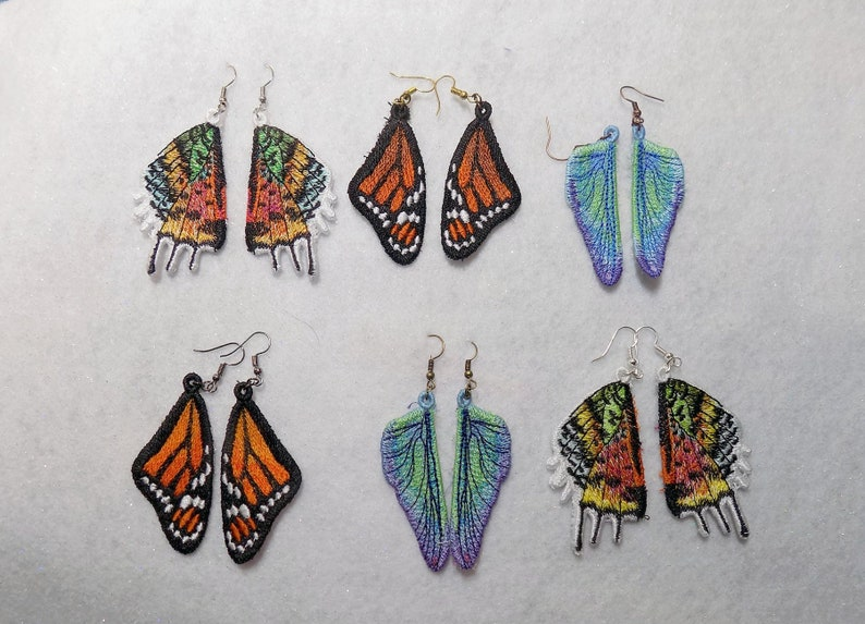 Embroidered Wing Earrings  great image 0
