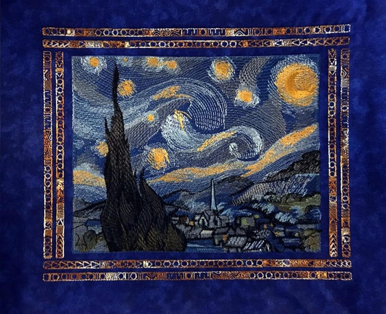 Starry Night Embroidered Tapestry embroidered wall art image 0