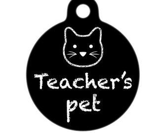Pet ID Tag - Teachers Pet Cat Pet Tag, Cat Tag