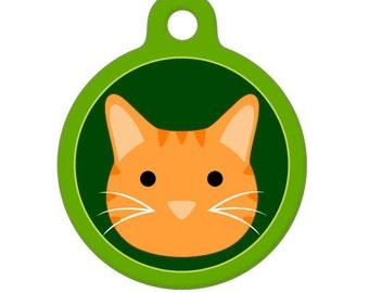 Pet ID Tag - Orange Tiger Kitty Cat Pet Tag, Dog Tag, Cat Tag