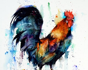 ROOSTER Watercolor Print, Rooster Art, Rooster Painting, Bird Art,  by Dean Crouser