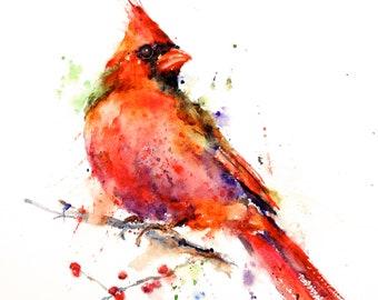 CARDINAL Watercolor Bird Art Print, Cardinal Painting, by Dean Crouser