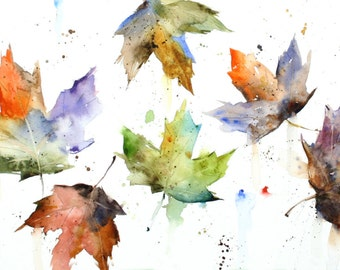 AUTUMN LEAVES Watercolor Print by Dean Crouser