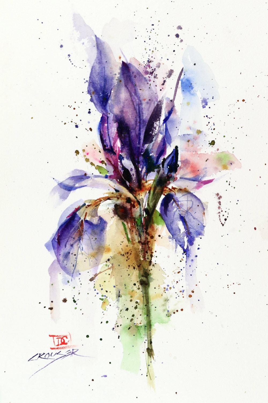 Iris Floral Watercolor Print Flower Painting Watercolor Etsy