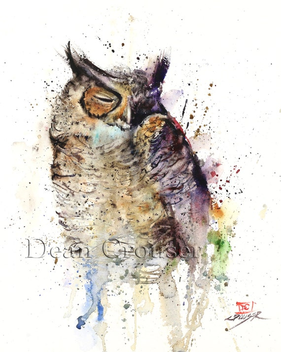 SLEEPY OWL Watercolor Bird Print, Owl Art by Dean Crouser