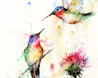 HUMMINGBIRD PAIR Watercolor Bird Art, Flower Print by Dean Crouser
