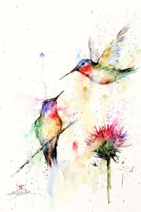 Colibrí par aves acuarela arte estampado de flores por Dean | Etsy