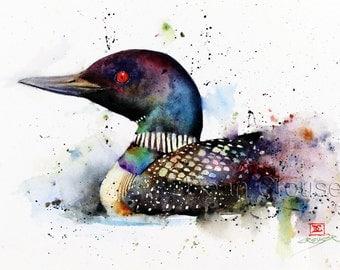 LOON Watercolor Bird Art Print, Loon Watercolor, Bird Painting,  by Dean Crouser