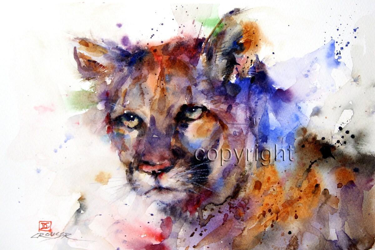 83e02e713c40c COUGAR Mountain Lion Watercolor Print by Dean Crouser