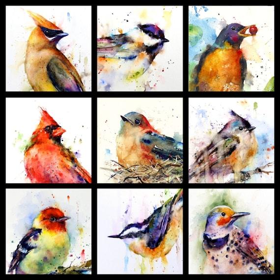 BIRD Flock  Watercolor Print, Bird Art Painting  by Dean Crouser