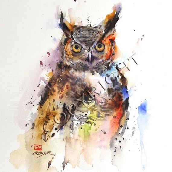 OWL Watercolor Print by Dean Crouser