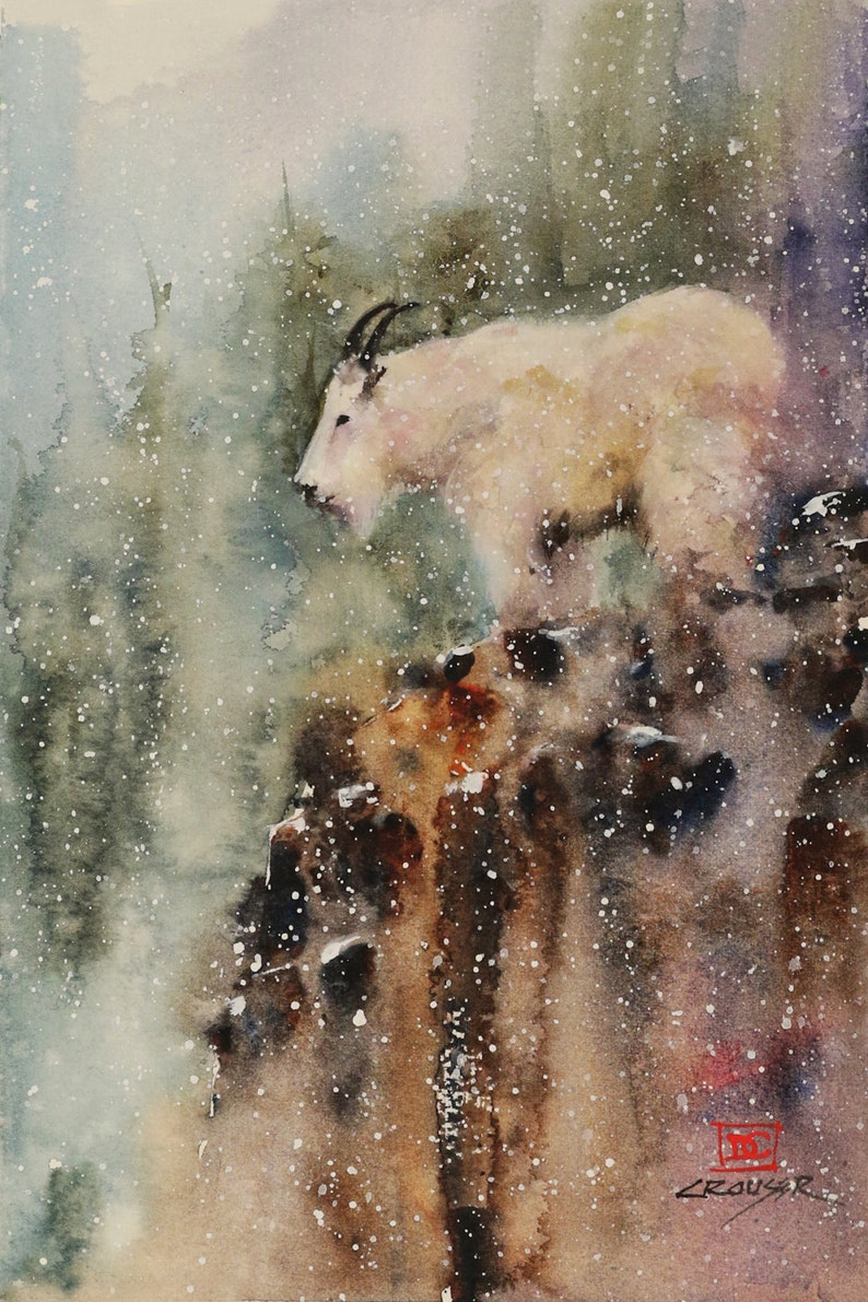 MOUNTAIN GOAT Wildlife Print Watercolor Painting by Dean Crouser