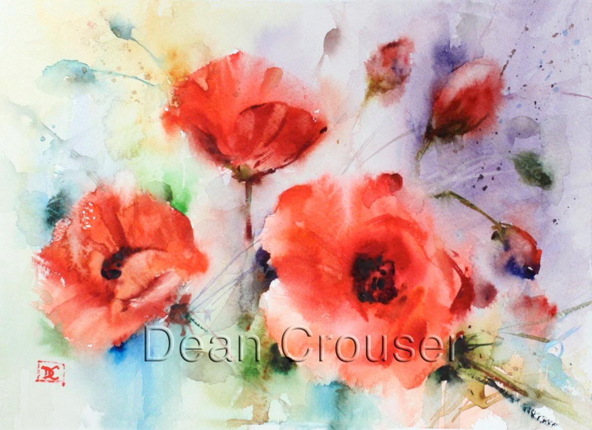 Poppy Flower Watercolor Print By Dean Crouser Etsy