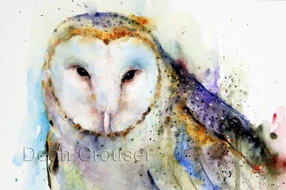 BARN OWL Watercolor Print by Dean Crouser