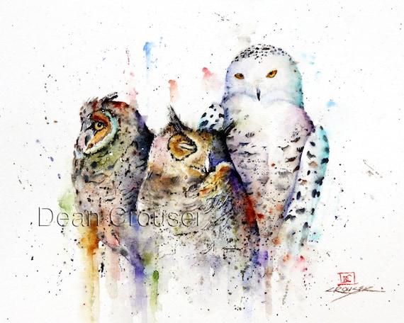 THREE OWLS Watercolor Bird Print, Owl Art by Dean Crouser