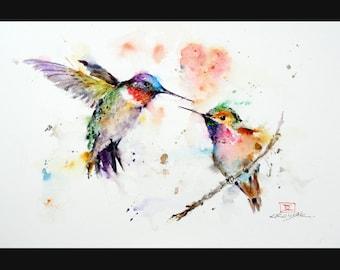 HUMMINGBIRDS Watercolor Bird Print, Hummingbird Painting by Dean Crouser