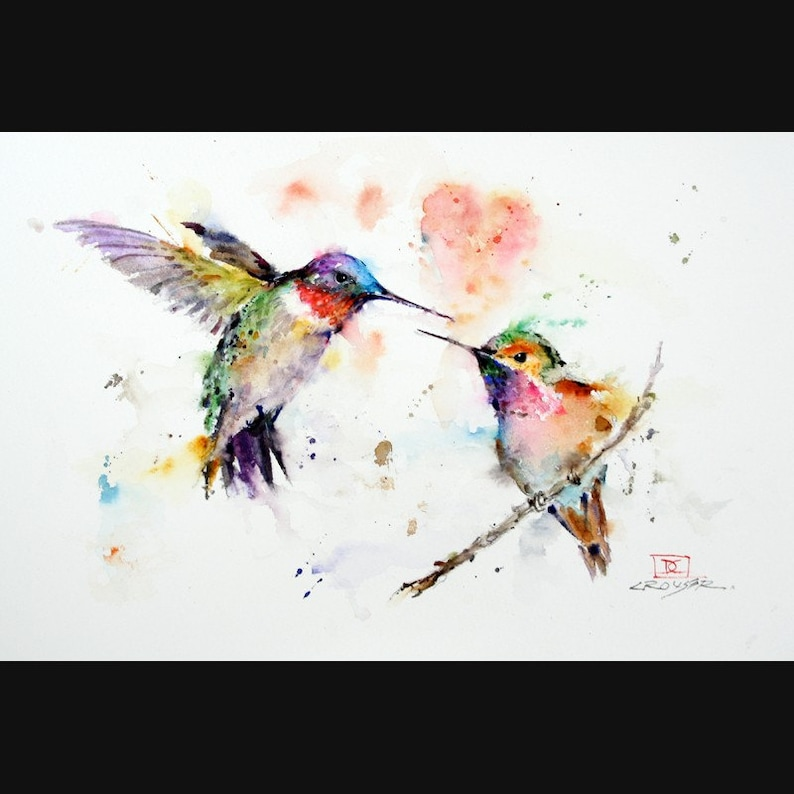 HUMMINGBIRDS Watercolor Bird Print Hummingbird Painting by image 0