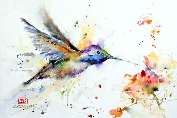 HUMMINGBIRD y FLOWER acuarela Bird Print, Pintura de colibríes, Arte de aves