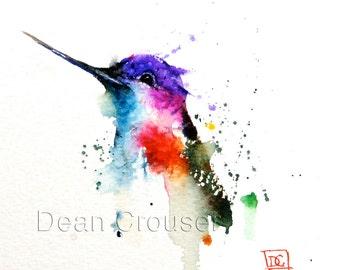 HUMMINGBIRD Watercolor Art Print, Hummingbird Painting by Dean Crouser