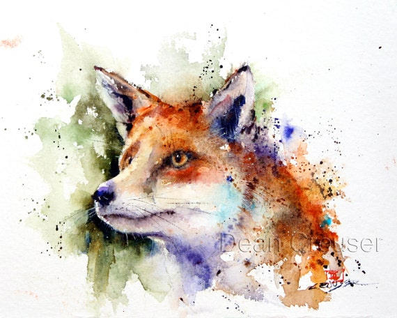 RED FOX Watercolor Nature Print by Dean Crouser   Etsy