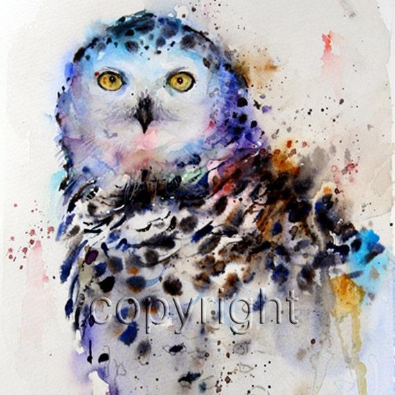 SNOWY OWL Watercolor Bird Art Print By Dean Crouser
