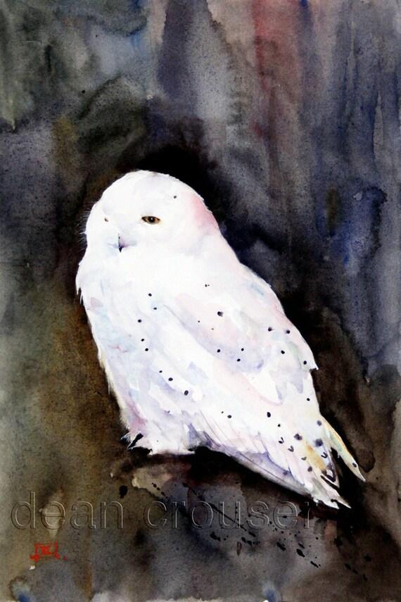 SNOWY OWL Watercolor Print by Dean Crouser
