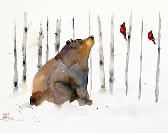 BLACK BEAR, CARDINAL and Birch Trees Winter Watercolor Print by Dean Crouser