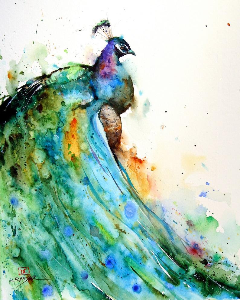 PEACOCK Watercolor BIRD Print  Bird Art by Dean Crouser image 0