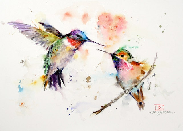 Hummingbird greeting cards set of 8 watercolor by dean etsy image 0 m4hsunfo