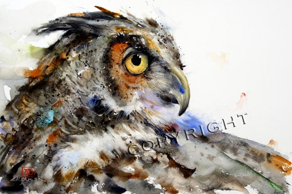 GREAT HORNED OWL Watercolor Owl Print, Bird Art Painting by Dean Crouser