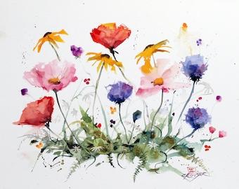 WILDFLOWERS Watercolor Floral Print by Dean Crouser