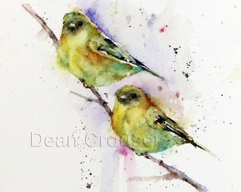 GOLDFINCH PAIR Watercolor Bird Print, Bird Art by Dean Crouser