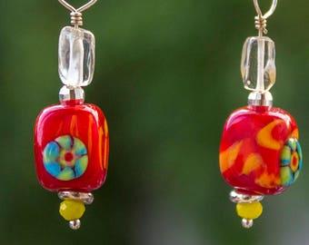 1 pair 4.5 cm - dangle lampwork glass earrings - red, rainbow