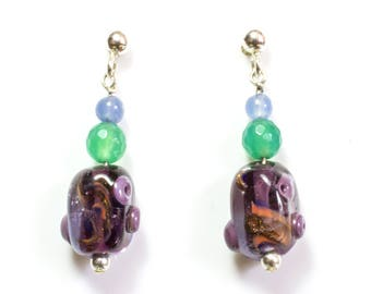 1 pair 3.7cm dangle lampwork glass earrings - purple murk with orange and goldstone - jade agate and agate azure