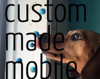 custom made glass and brass mobile - basic beads