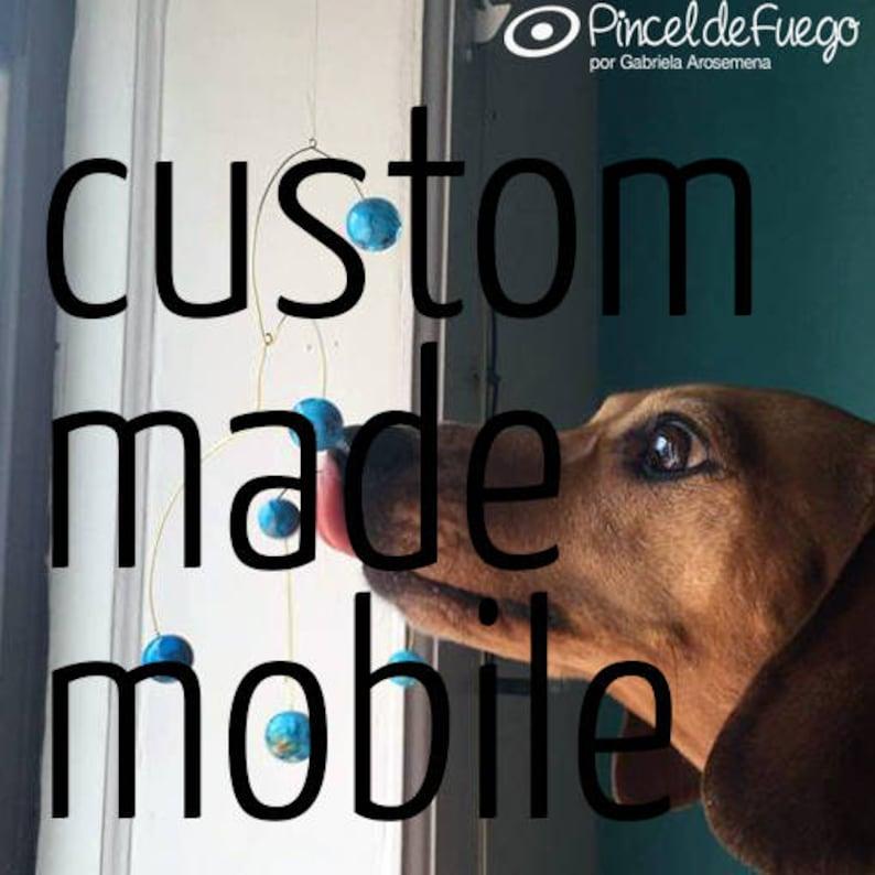 custom made glass and brass mobile  basic beads image 0