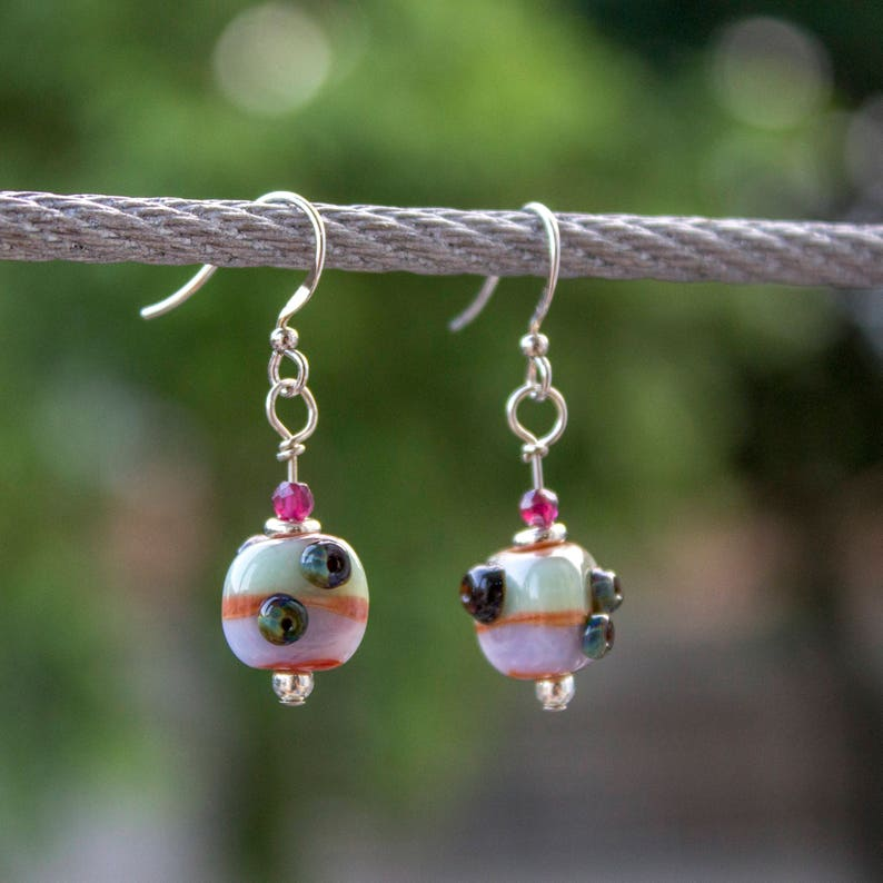 1 pair 3.8cm  dangle lampwork glass earrings  pastel and image 0