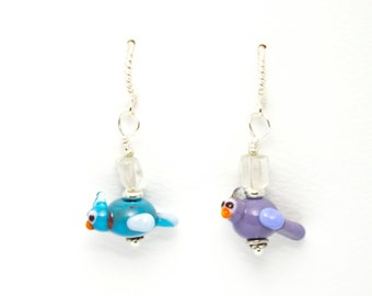 1 pair 3.5cm dangle lampwork glass earrings - purple and blue COOKY BIRDS and citrine
