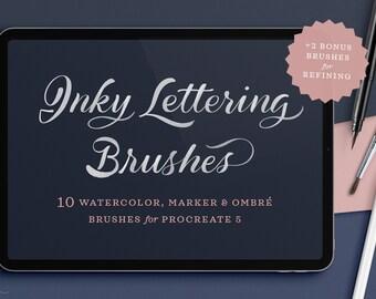 Inky Lettering Procreate Brush Set