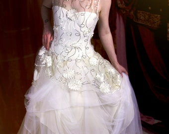 Layered Corsetted Tulle Wedding Dress with Flowers and Sequins