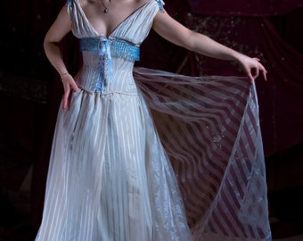 Striped Victorian Inspired Corset Wedding Dress with Train