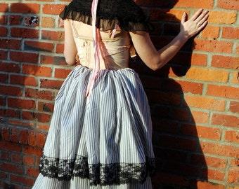 Black and White Striped Bustle Skirt