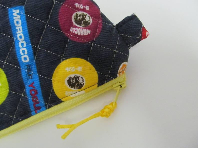 Zipper Pouch6x7.5x3.5Morocco Yogul x Yellow Zipper