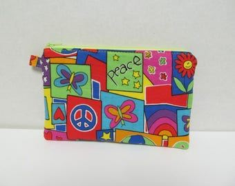 "Zipper Pouch/5""x8""/Peace Fabric"