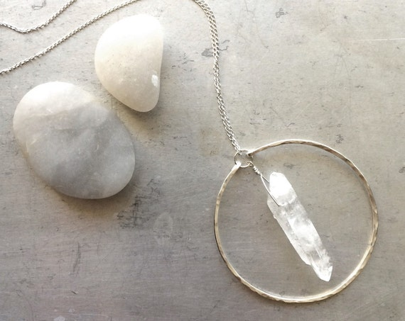 Circle Crystal Quartz Necklace