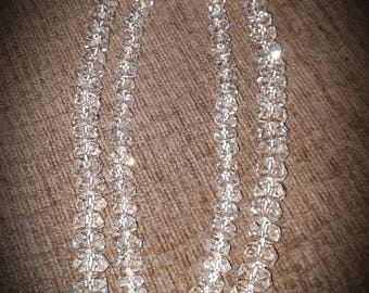 Vintage Quartz faceted Double strand crystal necklace 1950's