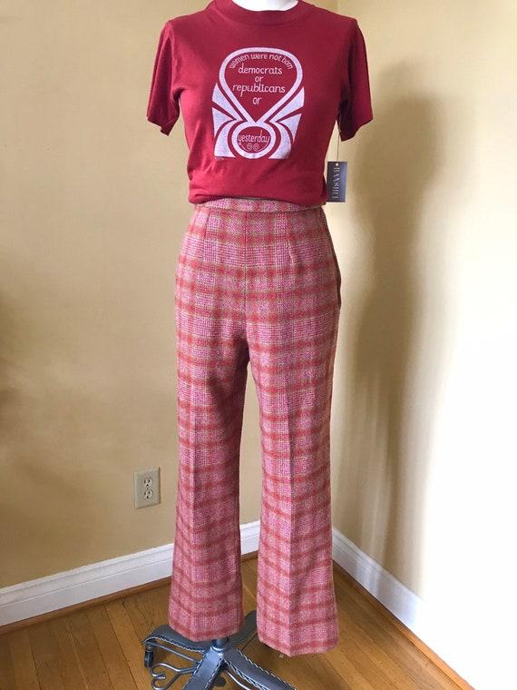 70s Pendleton Plaid Pants- Ultra Rise Raspberry