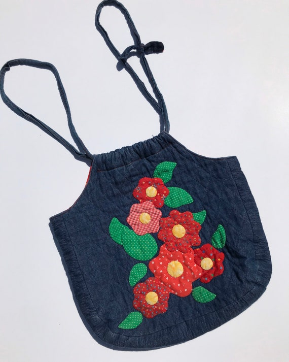 1970s Quilted Patchwork Denim Tote